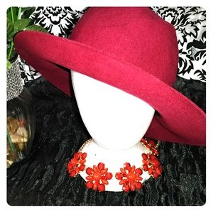 Accessories - Cranberry red wool hat panama style